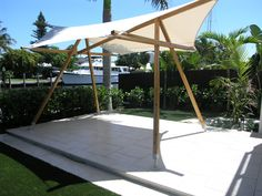 Look at this wonderful backyard gazebo - what an imaginative type Backyard Shade, Backyard Gazebo, Patio Shade, Deck With Pergola, Bamboo Structure, Shade Structure, Ideas Cabaña, Decor Ideas, Outdoor Pavilion