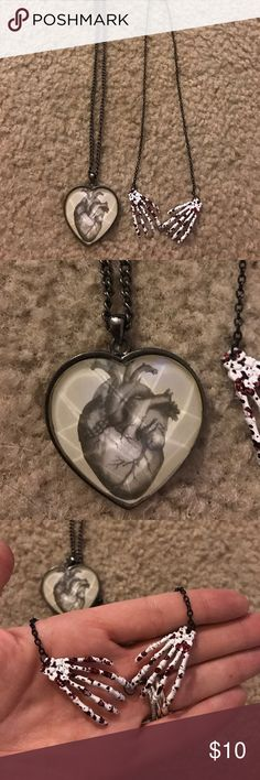 Creepy necklace bundle Two necklaces! Realistic heart and skeleton hands Jewelry Necklaces