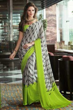 Grey and Green Chiffon Saree with Printed - Rs. 1399  Shop Now - http://zohraa.com/partywear-casual-online-grey-and-green-chiffon-saree-manjaree18397.html