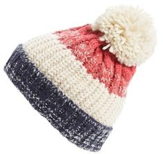 BP. Cable Stripe Beanie - this cool beanie with the fun, stripes, cool texture and fluffy pompom would make a great gift idea for the fashion conscious on your gift list.   It's very 'in' right now and has the added benefit of keeping your warm throughout the winter.
