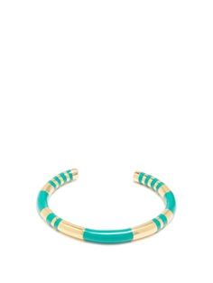 Aurelie Bidermann Gold-plated & Emerald Green Enamel Resin Positano Striped Bangle In Metallic Positano, Turquoise Bracelet, Plating, Bracelets, Green, Gold, Gifts, Stuff To Buy, Glitters