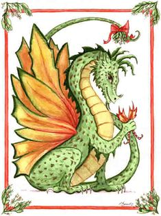 Christmas-Mistletoe Dragon by Heidi Buck Dragon Heart, Baby Dragon, Butterfly Dragon, Christmas Dragon, Christmas Art, Vintage Christmas, Fantasy Dragon, Fantasy Art, Fantasy Drawings