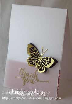 """hand crafted card from Simply One Of A Kind ... vellum panel ... gold embossed """"Thank You"""" ... die cut butterfly .. black solid base overlaid with lacy gold die cut ... luv it!"""
