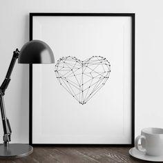 Love Heart Illustrated Polygon Art Print