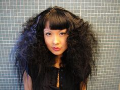 Big Hair  Crimped hair - good idea to incorporate into a vintage rolled bang look.