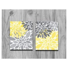 Yellow Gray Flower Burst Print Set Home Decor or Nursery Silhouette... ❤ liked on Polyvore