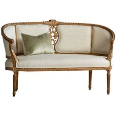 Gorgeous Petite Vintage Louis XVI Settee | From a unique collection of antique and modern settees at http://www.1stdibs.com/furniture/seating/settees/