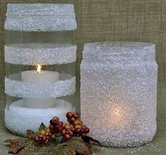 Holiday Collection 5 Categories of Ideas Using Household Items like Colanders, Epsom Salt, Cinnamon Sticks, Faux Snow & Wine Glasses! Holiday Candles, Holiday Decor, White Christmas, Christmas Diy, Home Crafts, Diy And Crafts, Wood Slat Ceiling, Xmas Decorations, Candle Holders