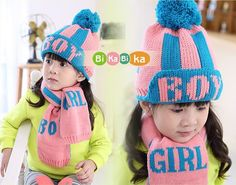 Letter Printed Girl Boy Knitted Hat Scarf Kids Beanie Caps