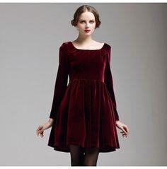 French Royal Wine Red Velvet Dress Al 731873