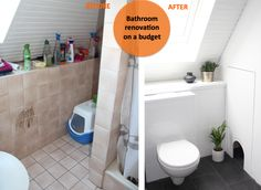 Bathroom before / after - DIY Budget Remodel, Cheap Remodel, Remodel, Home Remodeling, Bathroom Before After, Bathroom, Bathroom Renovations, Renovations, Bathroom Renovation