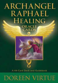 Archangel Raphael's Healing Oracle Cards by Doreen Virtue - Use these powerful pracle cards to heal and even prevent illness. Raphael is a powerful celestial being who heals people and animals. Whether it's a life-threatening condition, a painful injury, or an annoying health issue, Archangel Raphael is able to heal it! Archangel Raphael responds to all needs - all you need do is ask!