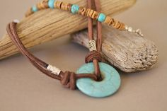 Men's Turquoise Magnesite Donut Suede Cord Necklace Boho