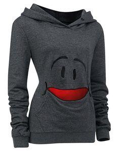 Cute Smile Cartoon Pattern Long Sleeves Gray Hoodie For Women, GRAY, L in Sweatshirts & Hoodies   DressLily.com