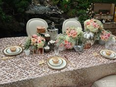 Pink and Gold Sequence Tablecloth for head table - 9 ft long. Vintage china and metallic pumpkins