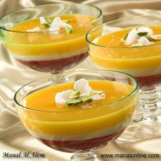 Photo: Colored Pudding Recipe The Lebanese Recipes Kitchen (The home of delicious Lebanese Recipes and Middle Eastern food recipes) invites . Egyptian Desserts, Lebanon Food, Ramadan Desserts, Panna Cotta, Middle Eastern Desserts, Lebanese Recipes, Lebanese Cuisine, Arabic Food, Arabic Sweets