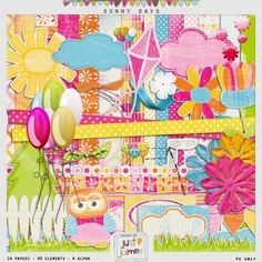 Free printable scrapbook paper and embellishment kit