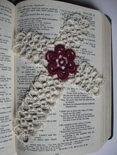 Tatted cross bookmark with center rose