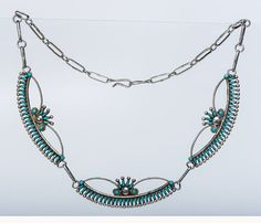 70s Zuni Turquoise Sterling Necklace   by littlethingsvintage