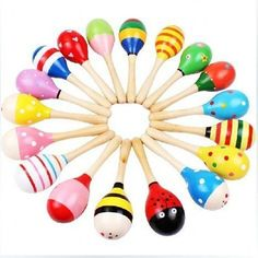 Colorful Wooden Maracas Children Musical Instrument Rattle Shaker Party Baby Toy