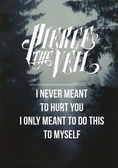 Pierce The Veil - these words are so perfect. I never meant to hurt you, I only meant to do this to myself