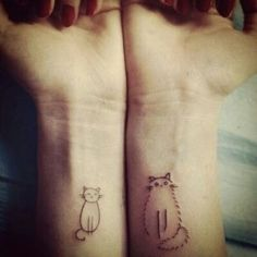 Cat tattoos.  This would be really cute if you had a fluffy cat and a skinny cat