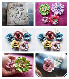 awesome a few of my thoughts: handmade flowers using tim holtz dies Paper Flower Tutorial, Paper Flowers Diy, Handmade Flowers, Flower Crafts, Fabric Flowers, Craft Flowers, Paper Roses, Timmy Time, Tim Holtz Dies