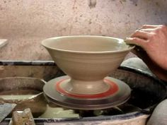 Throwing a clay pottery pasta bowl on a potters wheel demonstration demo how to pot throw make - YouTube