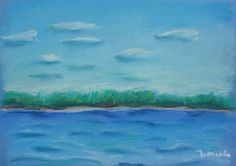 Landscape painted with pastels. The great Russian river Volga. It was drawn in one of the oldest Russian cities Nizhny Novgorod.  Size – 30x21 cm.
