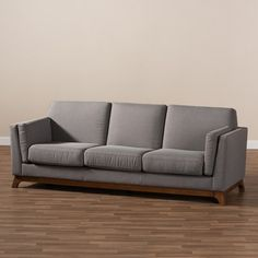 Sava Fabric Upholstered Walnut Wood 3 Seater Sofa Gray - BaxtonStudio : Target