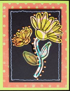https://flic.kr/p/xGmaHf | Greeting Card - Scribble Flower 5 | Greeting card created with: - Green cardstock - Coordinating background paper - Black cardstock - Floral components created from various Gelli Plate prints - Embellished with Ranger Liquid Pearls - Stamp Credits:  Flowers & Leaves by Fiskars - Card measures 4.25 x 5.5