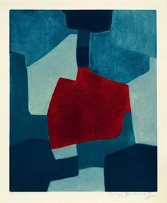 Composition en bleu et rouge by Serge Poliakoff
