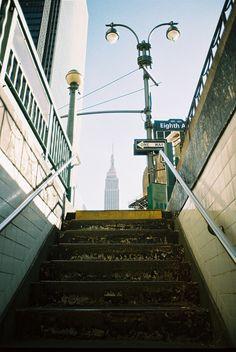 Subway stairs.