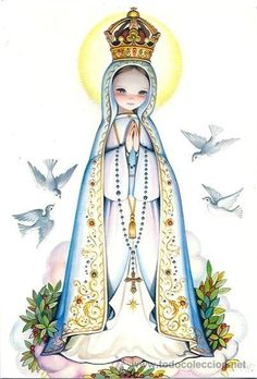 Mary I, Holy Mary, Blessed Mother Mary, Blessed Virgin Mary, Religious Images, Religious Art, Jesus Cartoon, Lady Of Fatima, Catholic Art