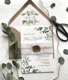 Rustic Greenery Wedding Invitation, Wax Seal, Vellum Wrap – Love of Creating Design Co - Hochzeitseinladung Art Deco Wedding Stationery, Green Wedding Invitations, Rustic Invitations, Wedding Invitation Design, Wedding Stationary, Wedding Invites Rustic, Handmade Wedding Invitations, Invitation Wording, Postcard Wedding Invitation
