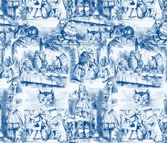 Curiouser and curiouser!  An Alice Toile ~ Blue ~ Large by PeacoquetteDesigns on Spoonflower ~ bespoke fabric, wallpaper, wall decals & gift wrap ~ Join PD ~ www.Peacoquette.com #Spoonflower #Peacoquette