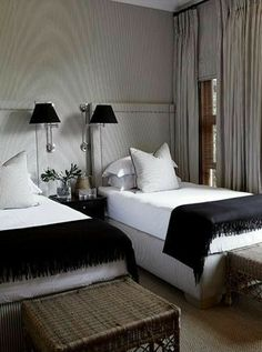 Masculine Guest Bedroom, with Twin Beds and Fabric Upholstered walls that match the Drapes. Guest Bedrooms, Twin Beds Guest Room, Twin Bedroom, Wall Decor Bedroom, Contemporary Bedroom, Minimalist Bedroom, Farmhouse Bedroom Decor, Modern Bedroom, Small Bedroom