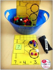 Ten-frames, Number bonds & Pom-Poms for early Math with tangible items (via my fabulous class) Singapore Math, Math Stations, Math Centers, Reading Centers, Math Classroom, Kindergarten Math, Teaching Math, Teaching Ideas, Math Resources