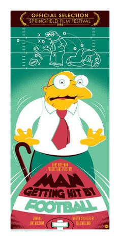 """Inspired by the Simpsons season six episode, """"A Star is Burns,"""" this print is based on Hans Moleman's entry in the Springfield Film Festival. The Simpsons, Simpsons Funny, Cartoon Shows, Cartoon Art, James L Brooks, Los Simsons, Simpsons Drawings, Otaku, Pop Culture Art"""