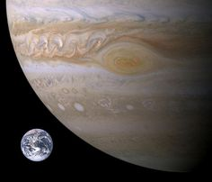 Comparing the size of Earth versus the Great Red Spot on Jupiter. Photo Credit: NASA