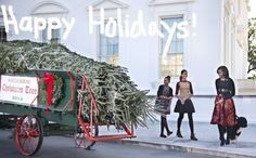 Michelle Obama and the girls welcome in their Christmas tree.