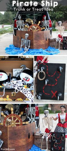 Turn your trunk into a pirate ship with this Pirate Ship Trunk or Treat Idea. With games, toys and treats, trick or treaters will love stopping at your pirate ship. Pirate Halloween, Holidays Halloween, Halloween Decorations, Halloween Party, Pirate Games, Pirate Theme, Pirate Party, Pirate Decor, Trunk Or Treat