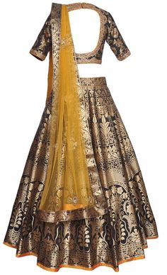 Black Brocade Lehenga Set