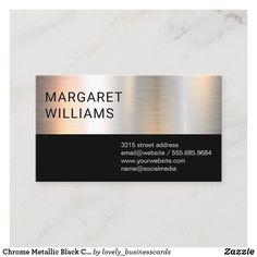 Chrome Metallic Black Color Block Business Card