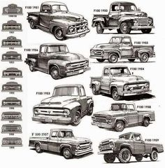 and gen Ford pickup ID chart - Cars, Trucks & Tank - Truck Classic Ford Trucks, Old Ford Trucks, Old Pickup Trucks, Jeep Pickup, Lifted Trucks, Lifted Ford, Diesel Trucks, Logo Ford, Us Cars