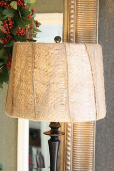DIY drum-style lampshade wrapped in burlap. Burlap Projects, Burlap Crafts, Home Projects, Home Crafts, Diy Home Decor, My Living Room, Living Room Decor, Burlap Lampshade, Lampshade Ideas