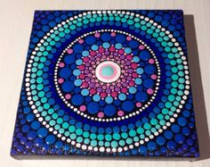Ursprünglichen kleinen Mandala-Malerei auf Leinwand, Gemälde, Büro und Zuhause Verzierung Henna Kunst Geschenk Dotilism Dotart, Blue mandala