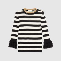 Gucci Gg Pearl Buttons Striped Top In Black And White Viscose Vintage Shirts, Vintage Tops, Planet Fashion, Printed Bomber Jacket, Flutter Sleeve Top, One Shoulder Tops, Ruffle Top, Ruffle Sleeve, Ruffle Shirt
