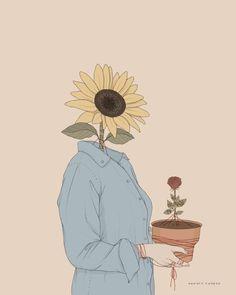 by Pietro Tenuta Sunflower Illustration, Illustration Art, Sunflower Wallpaper, Desenho Tattoo, Arte Pop, Cartoon Wallpaper, Anime Art Girl, Art Sketchbook, Aesthetic Art