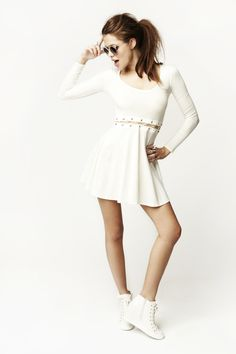 Laced Skater Dress in White